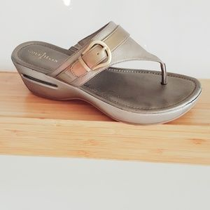 COLE HAAN SILVER AND GOLD NIKE AIR SANDALS